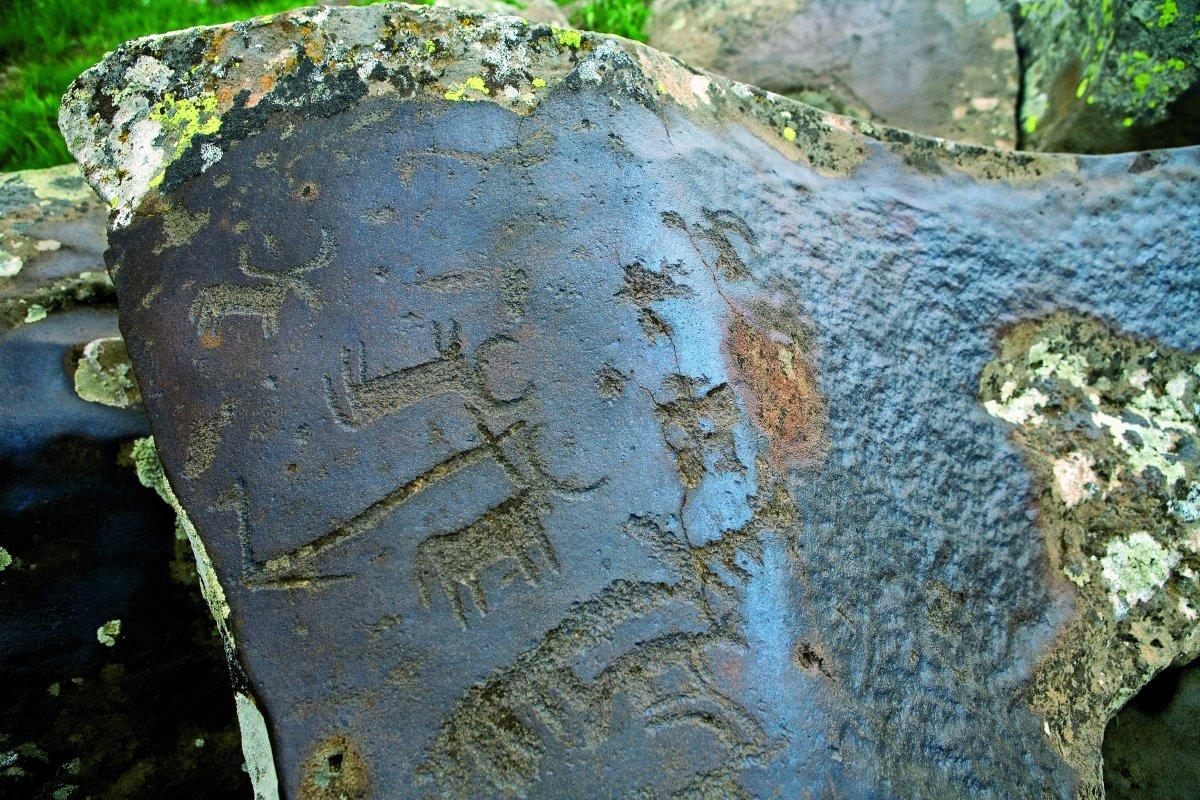The petroglyphs mountainUghtasar
